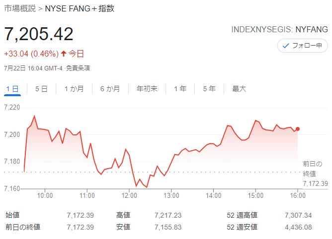 FANG+index2021年7月22日