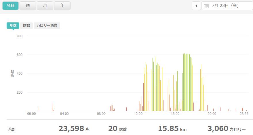fitbitログより 運動データ2021年7月23日