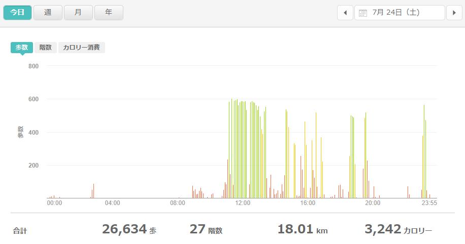 fitbitログより 運動データ2021年7月24日