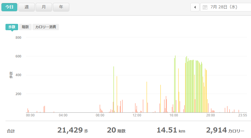 fitbitログより 運動データ2021年7月28日