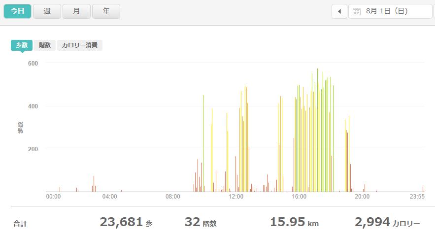 fitbitログより 運動データ2021年8月1日