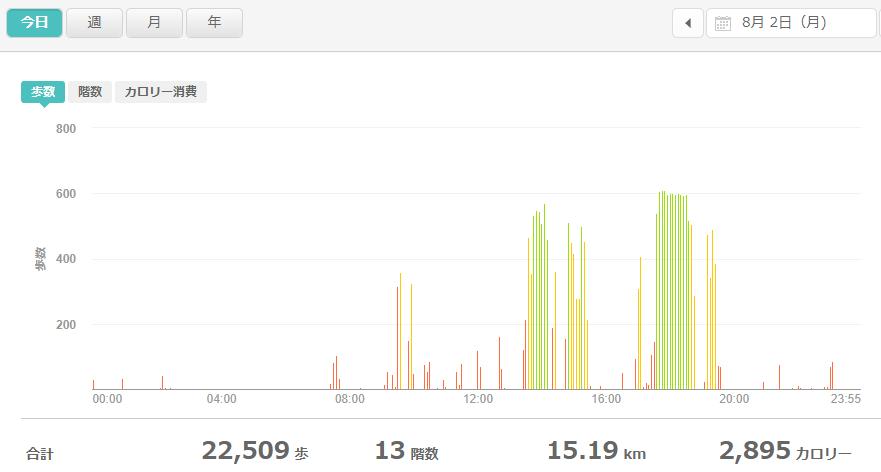 fitbitログより 運動データ2021年8月2日