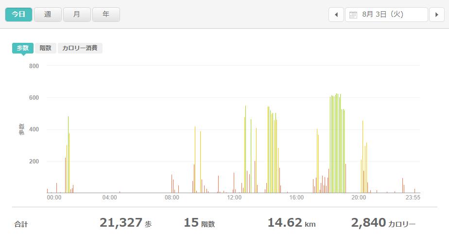 fitbitログより 運動データ2021年8月3日