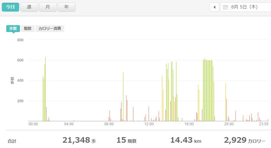 fitbitログより 運動データ2021年8月5日