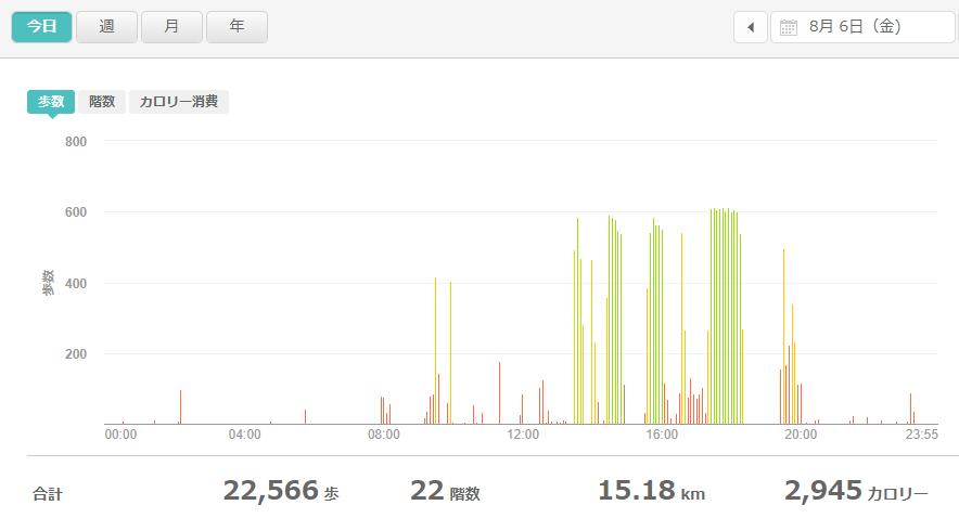 fitbitログより 運動データ2021年8月6日