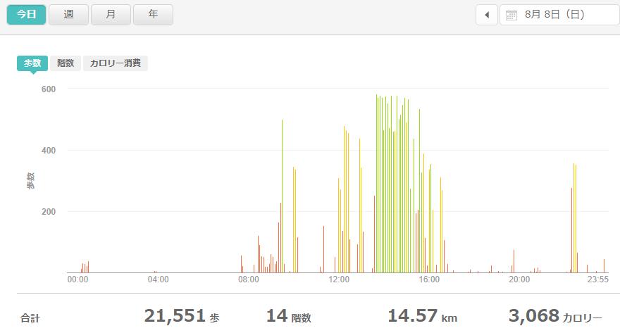fitbitログより 運動データ2021年8月8日