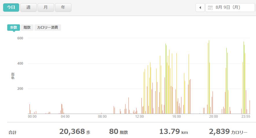 fitbitログより 運動データ2021年8月9日