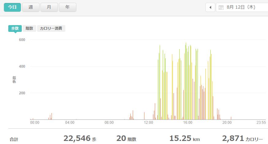 fitbitログより 運動データ2021年8月12日