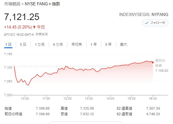 FANG+index2021年8月12日