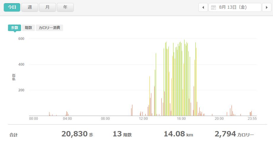 fitbitログより 運動データ2021年8月13日