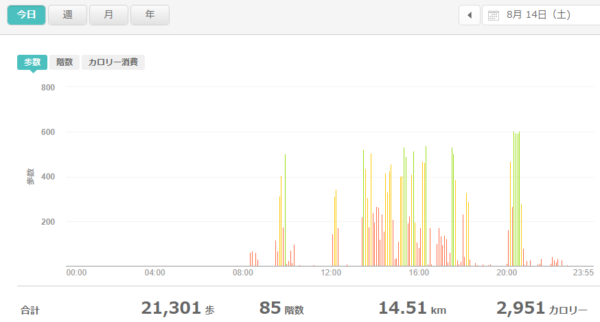 fitbitログより 運動データ2021年8月14日