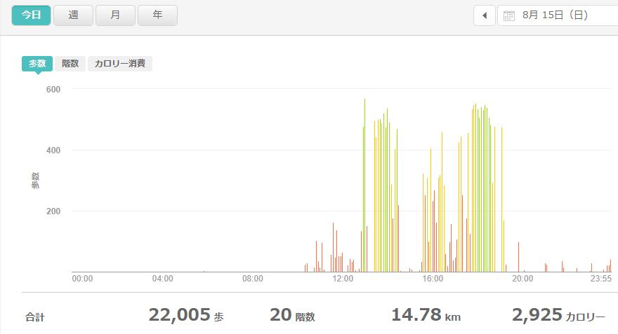 fitbitログより 運動データ2021年8月15日