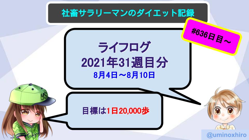 【サラリーマンのダイエット記録】2021年8月4日〜8月10日分【ライフログ2021年31週目】