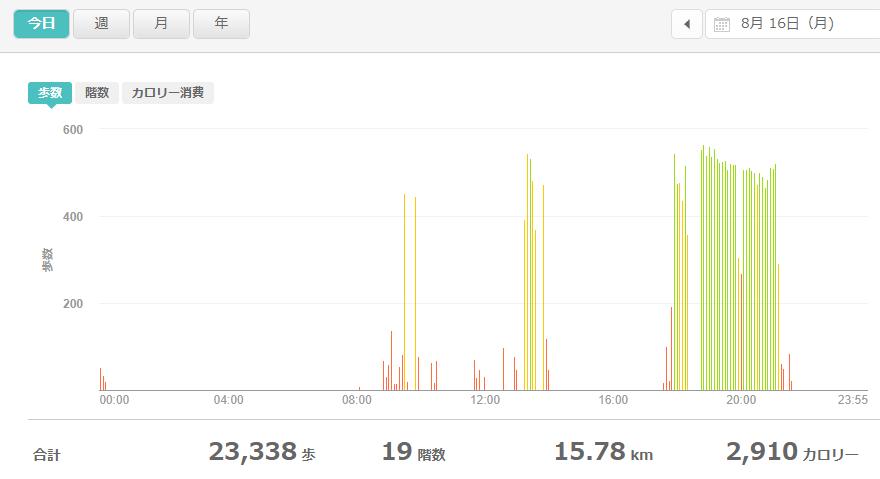 fitbitログより 運動データ2021年8月16日