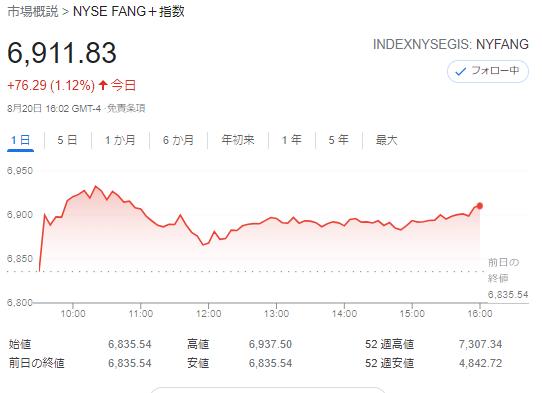 FANG+index2021年8月20日