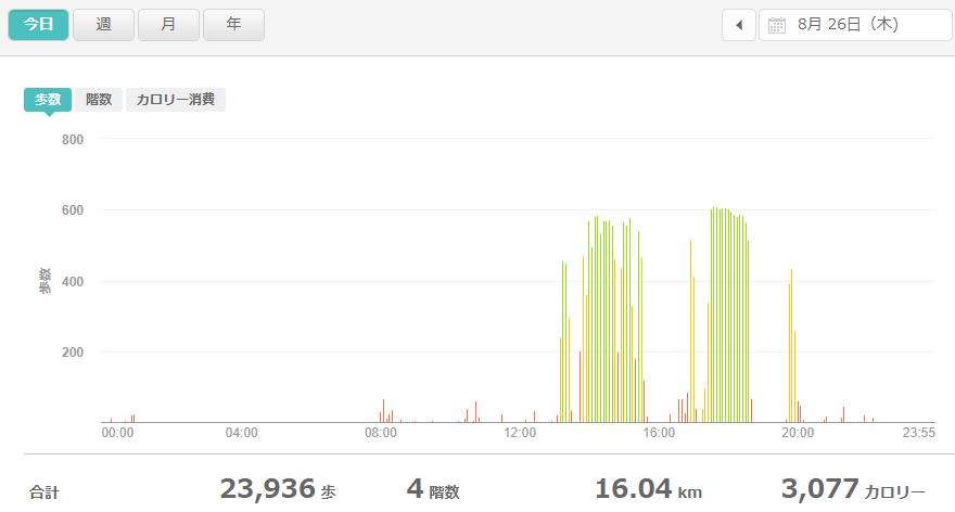 fitbitログより 運動データ2021年8月26日