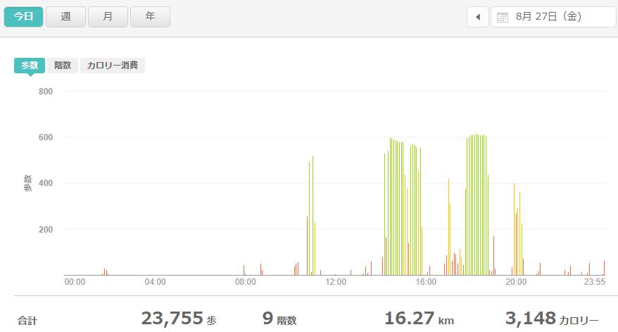 fitbitログより 運動データ2021年8月27日