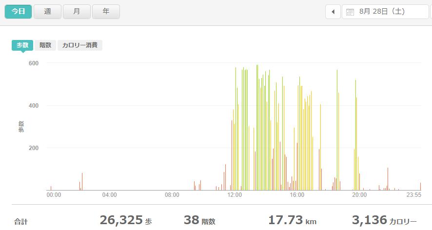 fitbitログより 運動データ2021年8月28日