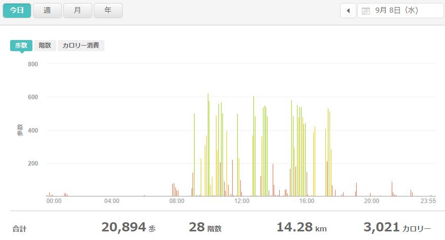 fitbitログより 運動データ2021年9月8日