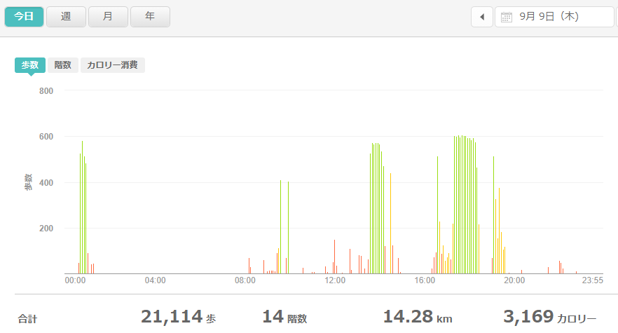 fitbitログより 運動データ2021年9月9日