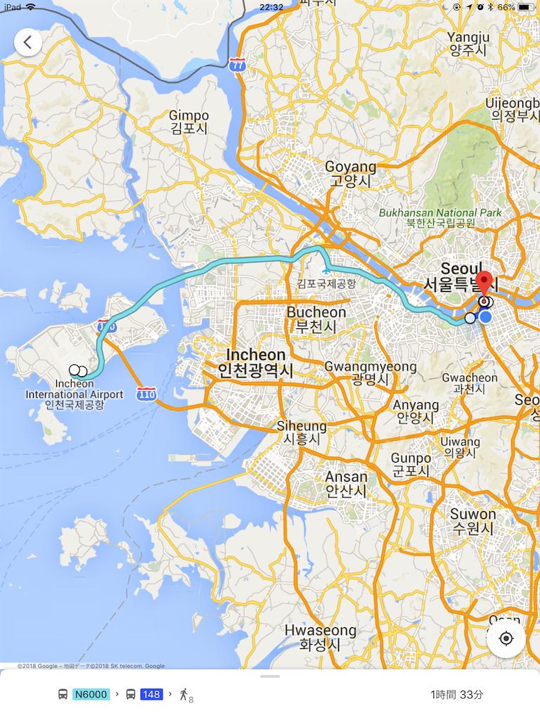 仁川国際空港から新沙までの地図