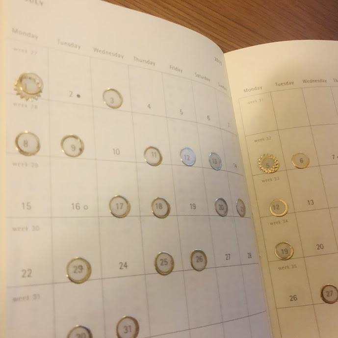 筋トレをした日を記録した手帳