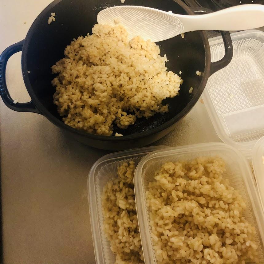 押し麦玄米を冷凍
