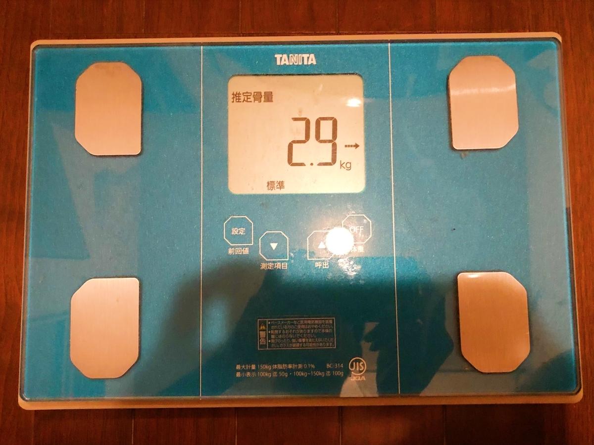 2021年5月20日(木) 時点の体重計の写真その5。推定骨量は2.9kgでした。