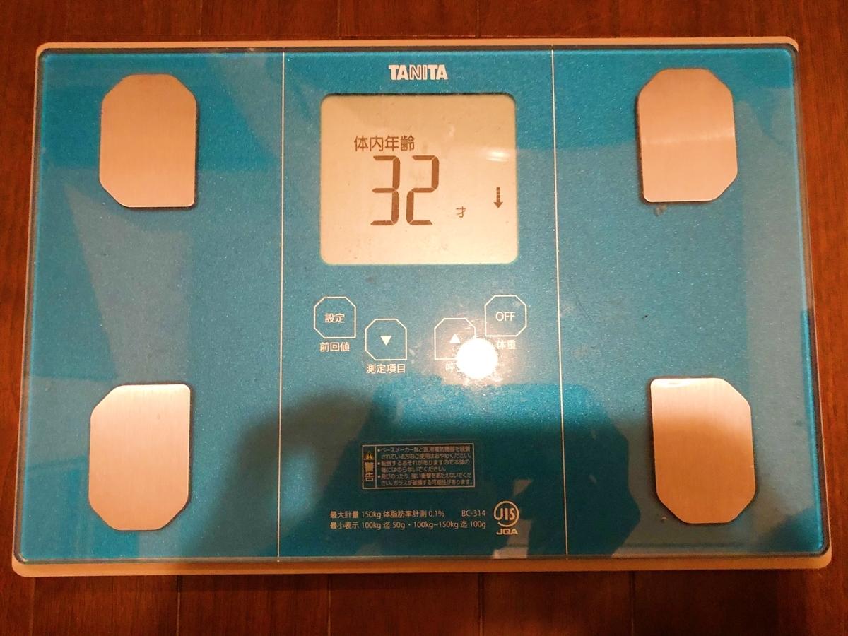 2021年5月20日(木) 時点の体重計の写真その8。体内年齢は32歳でした。