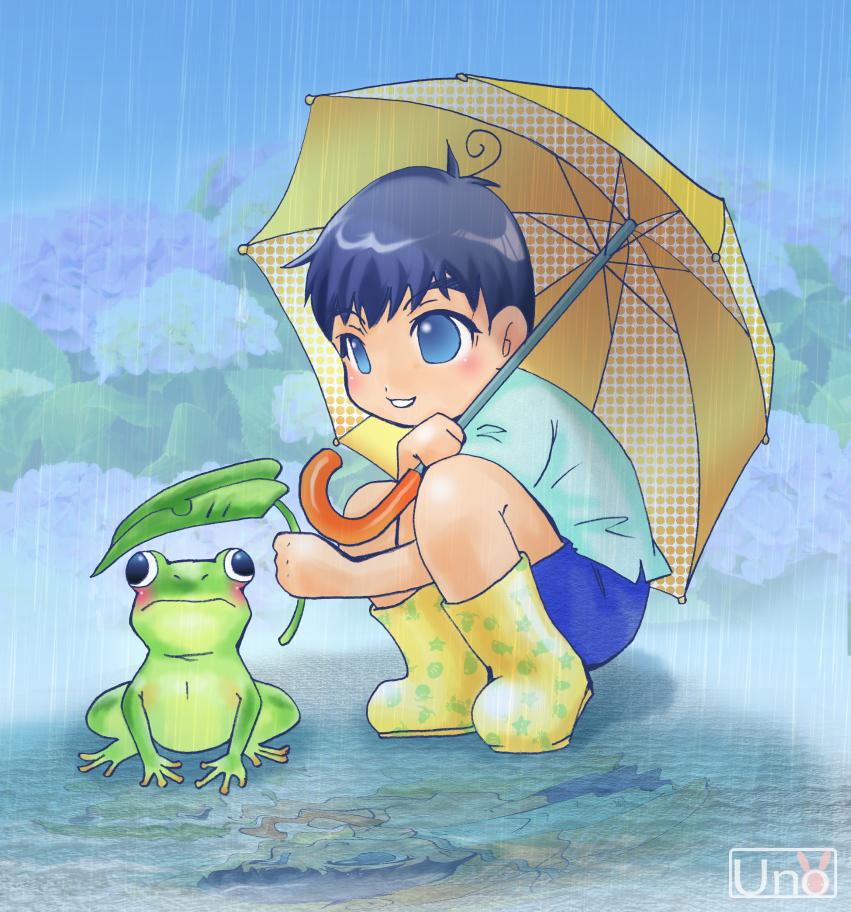 クリスタで描いたイラスト「カエル好きの息子」