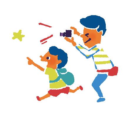 親子で自由研究に取り組むイラスト