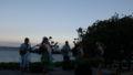 ホテルのビーチ前会場でハワイアン&フラガール
