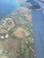 ハワイ到着時の機内から
