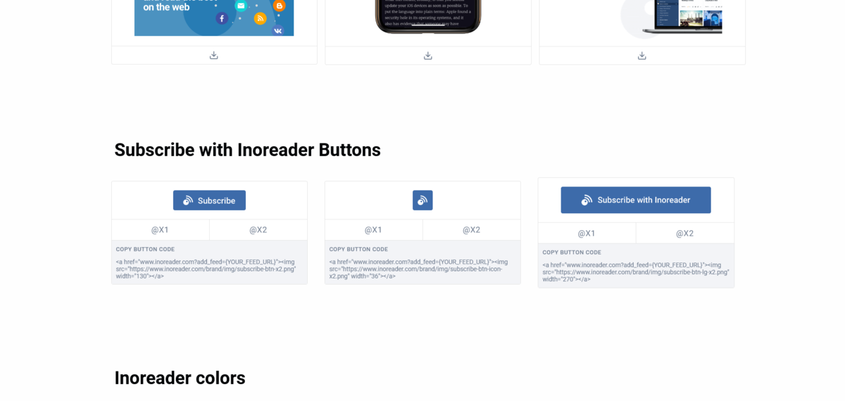 Inoreader購読ボタンHTMLソースコードページ