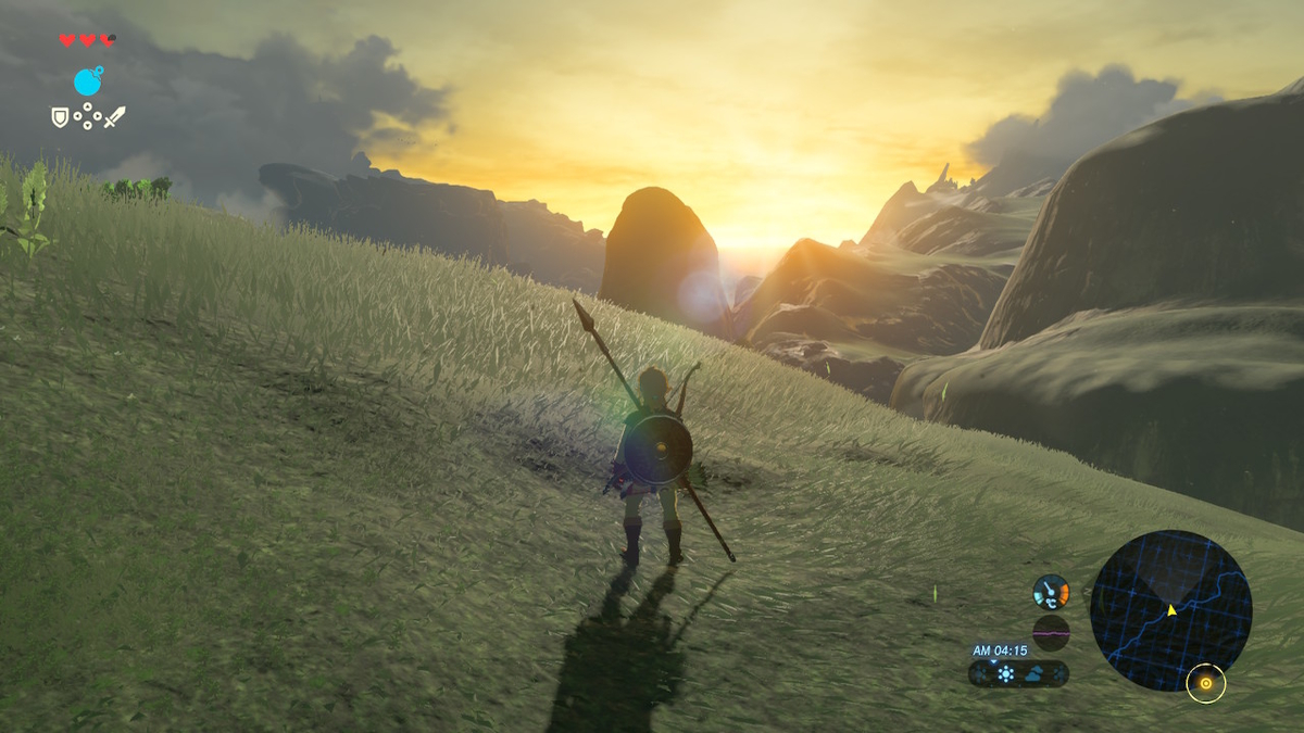 ゼルダの伝説ブレスオブザワイルド_カカリコ村近辺の山から見た夕陽