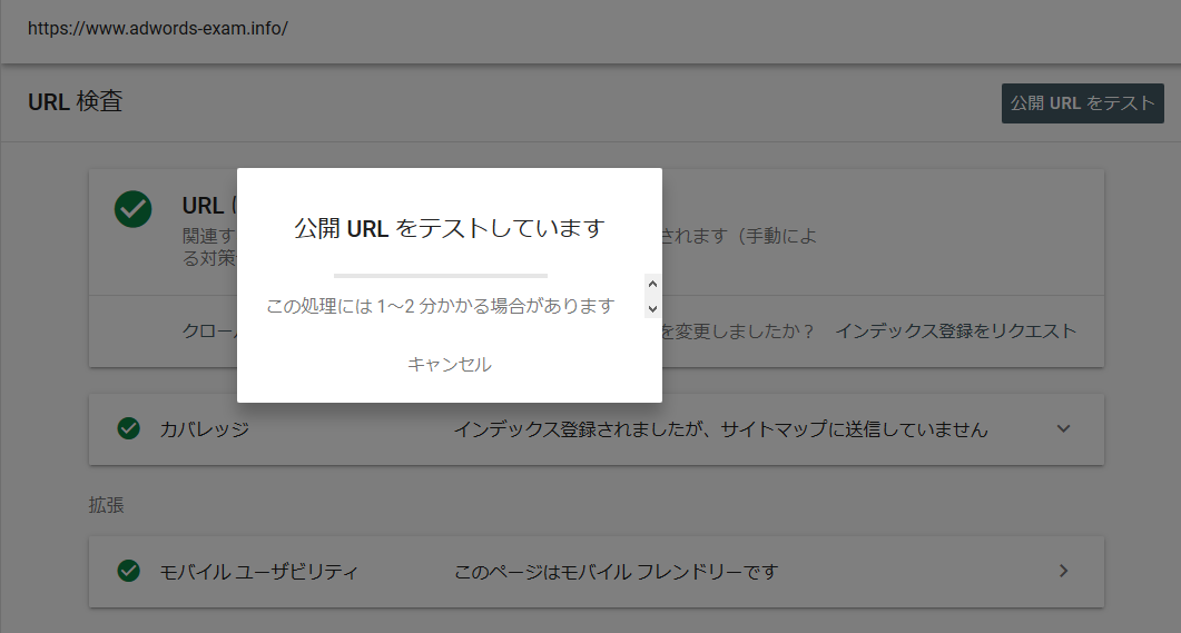 公開URL挙動画面