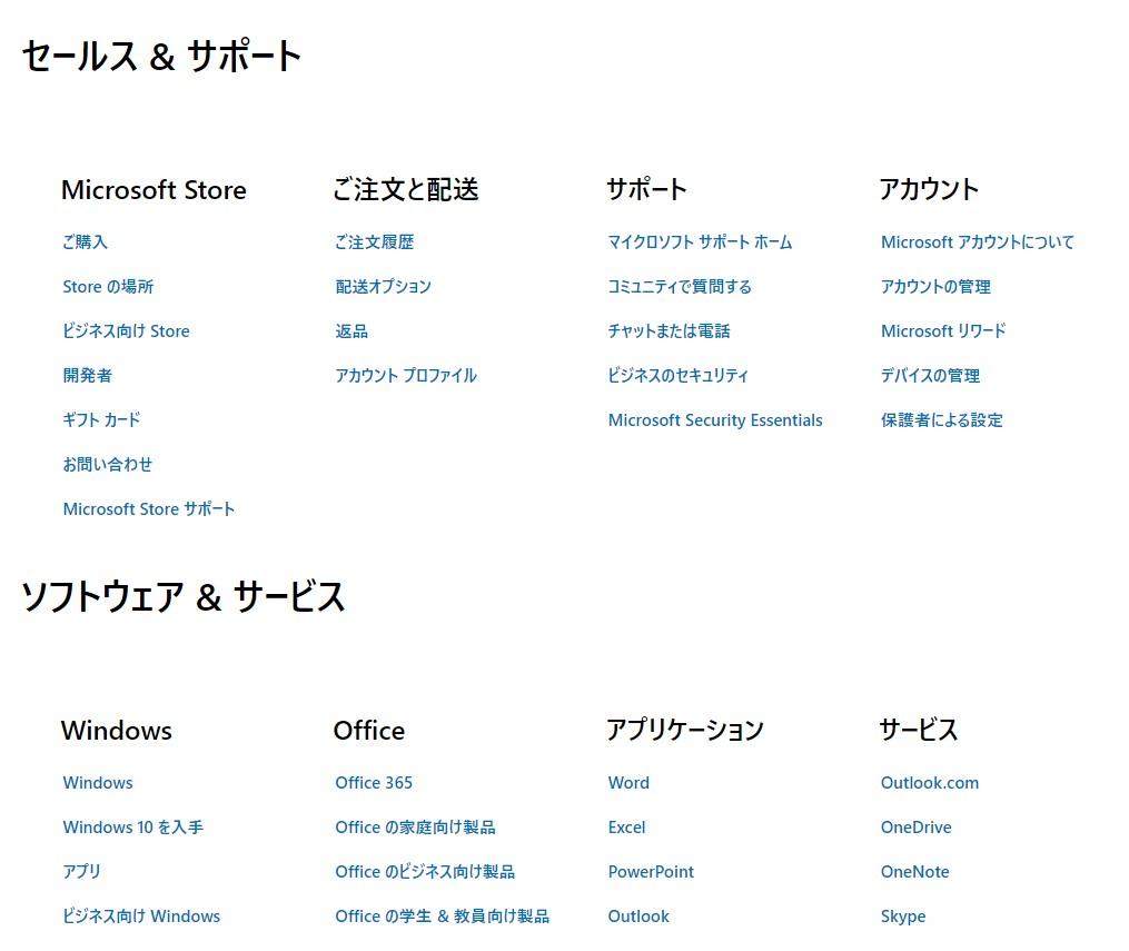 マイクロソフトのサイトマップ