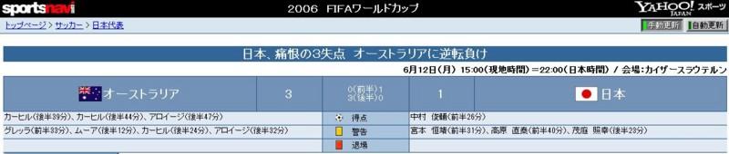 2006年 ワールド カップ ドイツ 大会で オーストラリアに 逆転 まけ