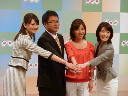 00 井上キャスター、大越キャスター、広瀬キャスター、松村リポーター