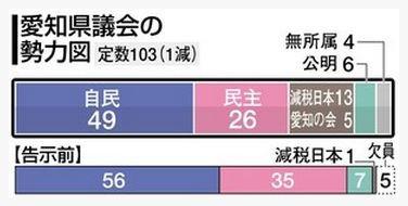愛知県 議会の 勢力図 (ちゅうにち)