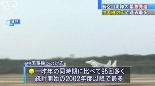 中国機に たいする スクランブル 発進 急増 03