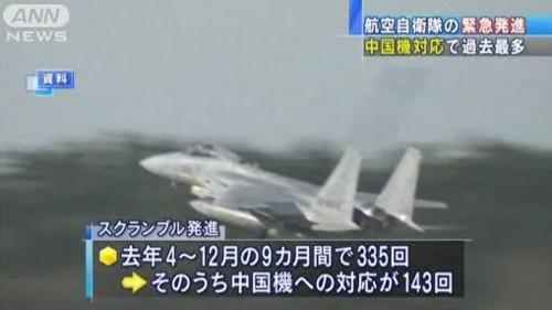 中国機に たいする スクランブル 発進 急増 02