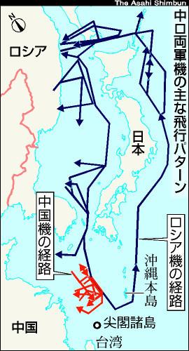 中国機と ロシア機の にほん 領空 接近 飛行 パターン (あさひ)