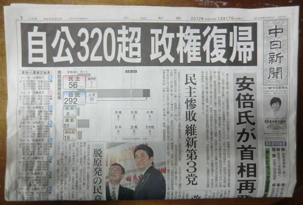 20121216 衆院選 「自公320超 政権復帰」 (ちゅうにち)