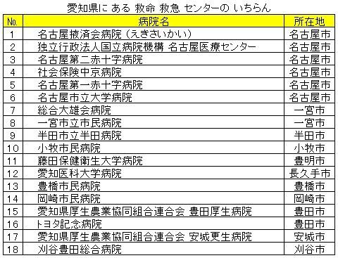 愛知県に ある 救急 救命 センターの いちらん