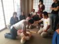 20130929 09:39 古井町内会 防災 訓練 AED やって むね おして