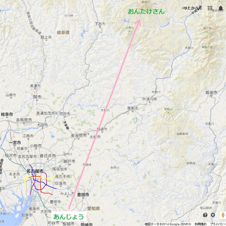 御岳山(おんたけさん)と安城(あんじょう)の地図