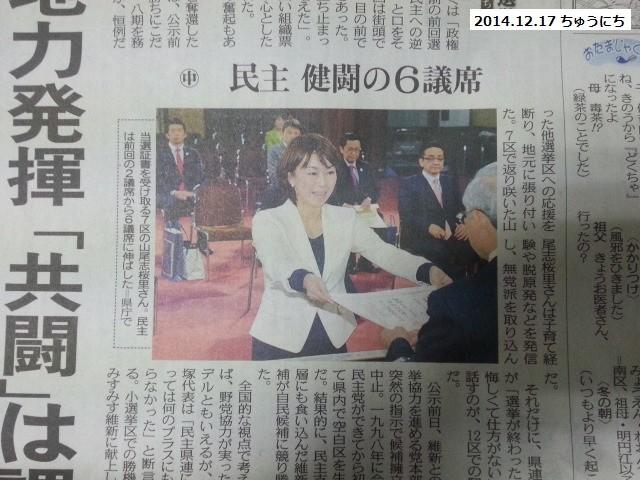 民主健闘の6議席 - 2014.12.17 ちゅうにち
