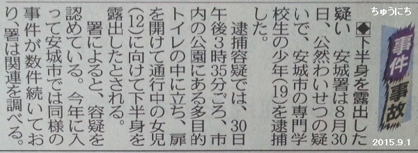 下半身露出おとこたいほ - ちゅうにち 2015.9.1
