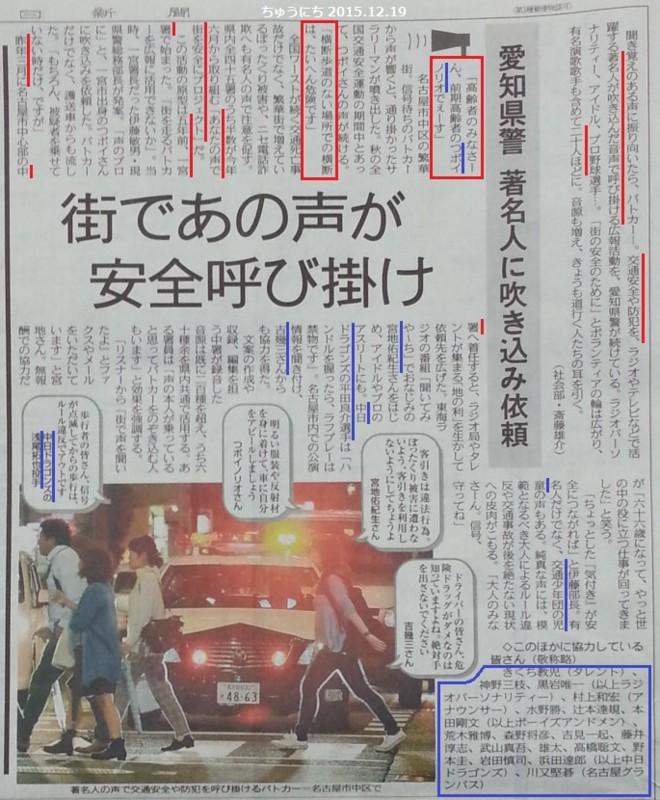 有名人が交通安全や防犯のよびかけ - ちゅうにち 2015.9.29